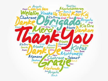 Merci amour coeur nuage de mot dans différentes langues, fond de concept Vecteurs