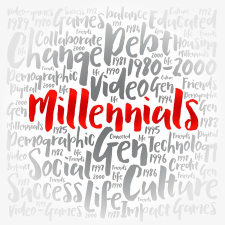 Millennials Word Cloud Social Concept collage background 일러스트