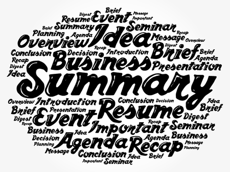 Summary word cloud collage, business concept background Illustration