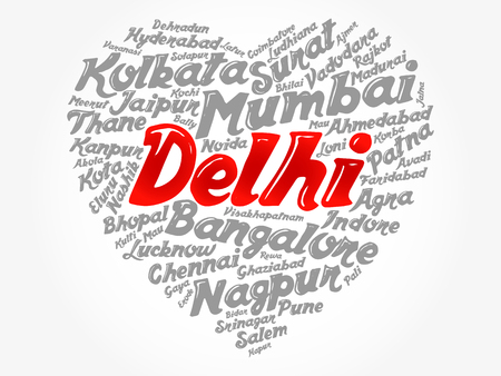 List of cities and towns in India composed in love sign heart shape, word cloud collage, business and travel concept background Illustration