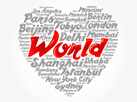 List of cities and towns in the WORLD composed in love sign heart shape, word cloud collage, business and travel concept background