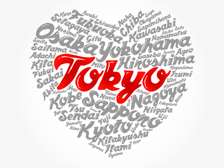 List of cities and towns in Japan composed in love sign heart shape, word cloud collage, business and travel concept background