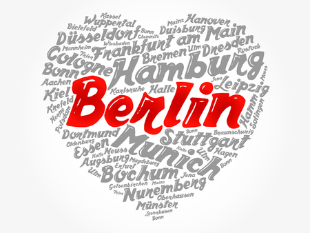 List of cities and towns in Germany composed in love sign heart shape, word cloud collage, business and travel concept background
