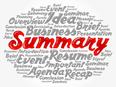 Summary word cloud collage, business concept background Ilustração