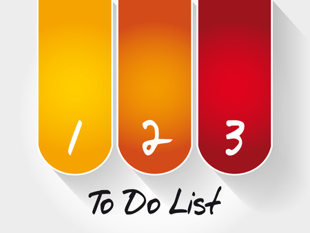 To Do List 3 steps, business concept background