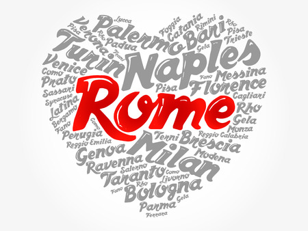 List of cities and towns in Italy composed in love sign heart shape, word cloud collage, business and travel concept background