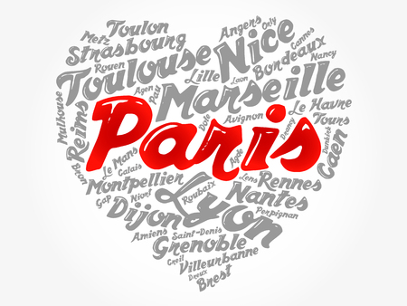 List of cities and towns in France composed in love sign heart shape, word cloud collage, business and travel concept background Ilustração