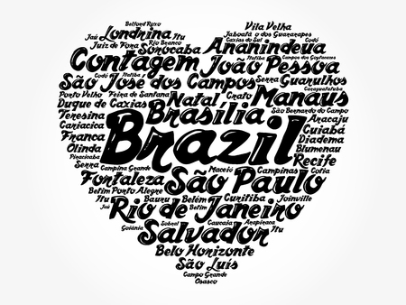 Heart word cloud with List of cities in Brazil, concept background