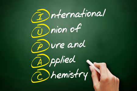 IUPAC - International Union of Pure and Applied Chemistry acronym, concept on blackboard