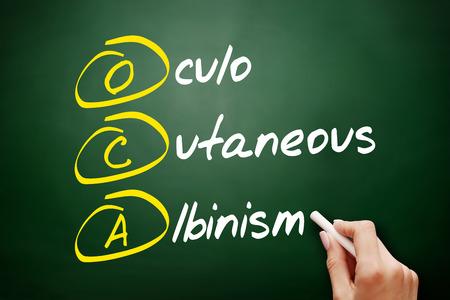 OCA - Oculo Cutaneous Albinism acronym, concept on blackboard Imagens