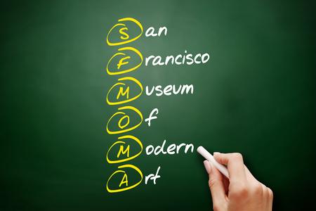 SFMOMA - San Francisco Museum of Modern Art acronym, concept background