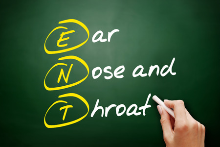 ENT - Ear Nose and Throat acronym, concept on blackboard