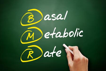 BMR - Basal Metabolic Rate acronym, concept on blackboard