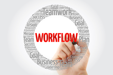 WORKFLOW word cloud with marker, business concept background Stock Photo
