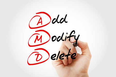Hand writing with marker AMD acronym, Add, Modify, Delete, concept background