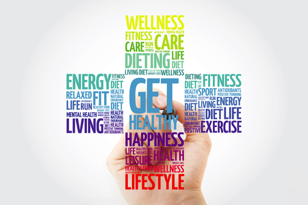 Get Healthy word cloud with marker, health cross concept background