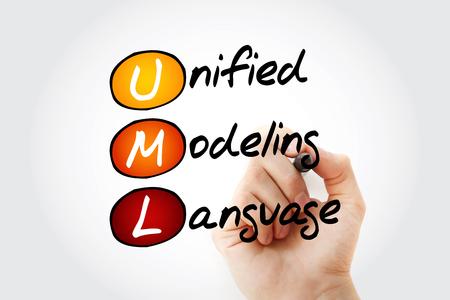Hand writing UML - Unified Modeling Language acronym with marker, concept background Banco de Imagens