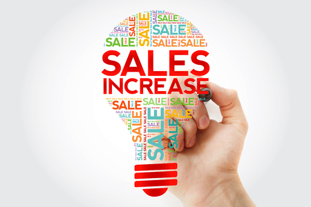 Sales Increase bulb word cloud with marker, business concept background