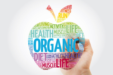 Organic apple word cloud with marker, health concept background