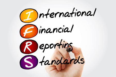 IFRS - International Financial Reporting Standards, acronym with marker, business concept