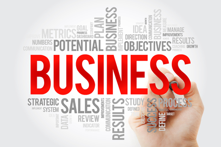 Business word cloud with marker, business concept background