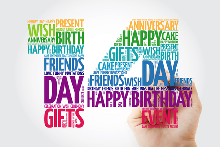 Happy 14th birthday word cloud collage concept with marker Banco de Imagens - 116405432