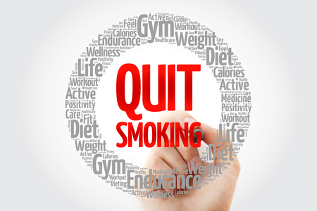 Quit Smoking word cloud collage with marker, health concept background