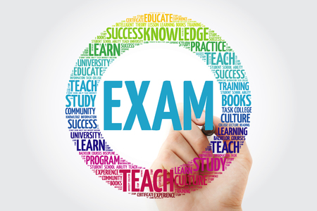 EXAM word cloud collage with marker, education concept background