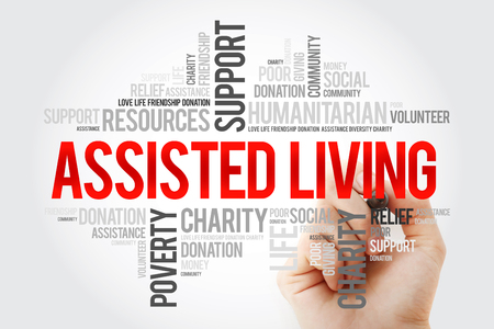 Assisted Living word cloud with marker, social concept background Foto de archivo