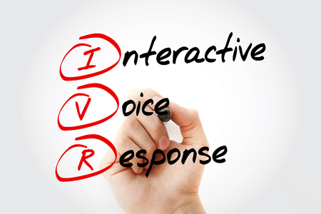 IVR - Interactive Voice Response acronym, business concept with marker Banque d'images