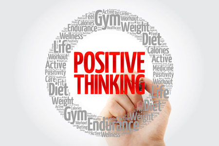 Positive thinking word cloud collage with marker, health concept background