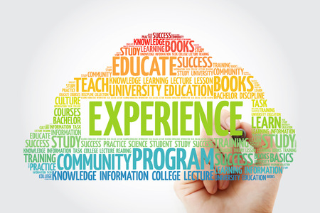 Experience word cloud collage with marker, education concept background Stock Photo