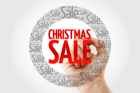 Christmas SALE words cloud with marker, business concept background 免版税图像