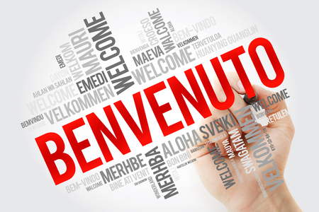 Benvenuto (Welcome in Italian) word cloud with marker in different languages, conceptual background Banco de Imagens