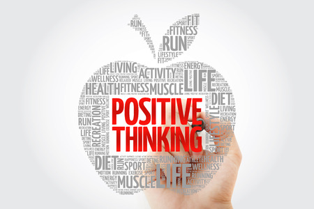 Positive thinking apple word cloud with marker, health concept