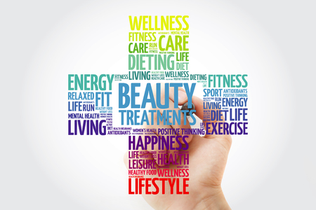 Beauty Treatments word cloud with marker, health cross concept background Banco de Imagens