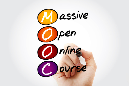 Hand writing Massive Open Online Course with marker, concept background