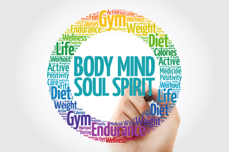 Body Mind Soul Spirit word cloud collage with marker, health concept background