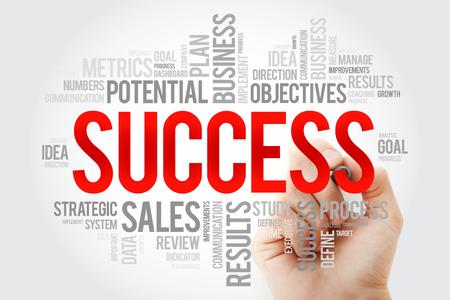 Collage en nuage de mots succès avec marqueur, arrière-plan du concept d'entreprise