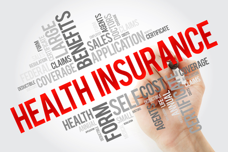 Health Insurance word cloud collage with marker, healthcare concept background