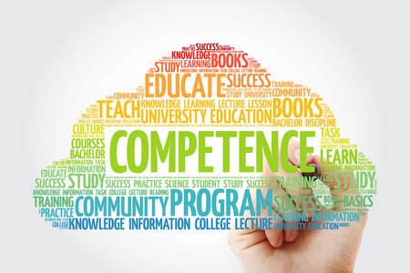 COMPETENCE word cloud collage with marker, education concept background