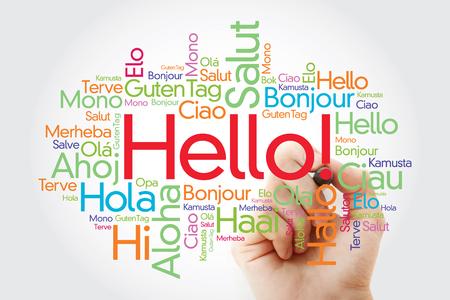Hallo woordwolk met markering in verschillende talen van de wereld, achtergrondconcept Stockfoto