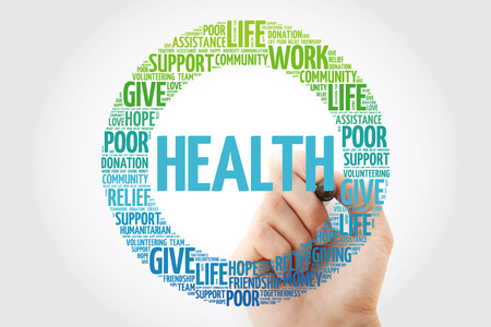 HEALTH word cloud collage with marker, concept background Banque d'images - 116406160