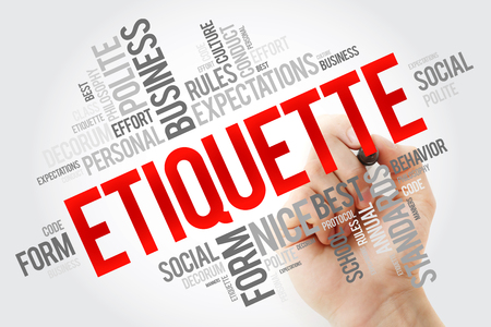 Etiquette word cloud collage with marker, social business concept on blackboard Banque d'images
