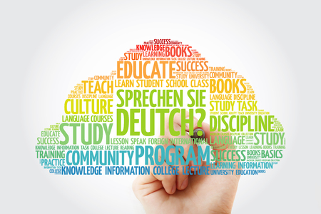 Sprechen Sie Deutch? (Do you speak German?) word cloud with marker, education business concept Imagens