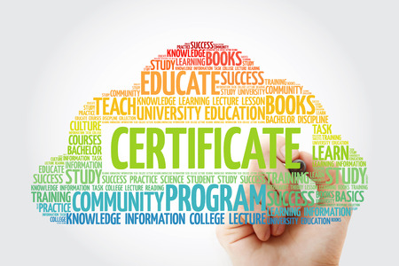 CERTIFICATE word cloud collage with marker, education business concept background Stock Photo