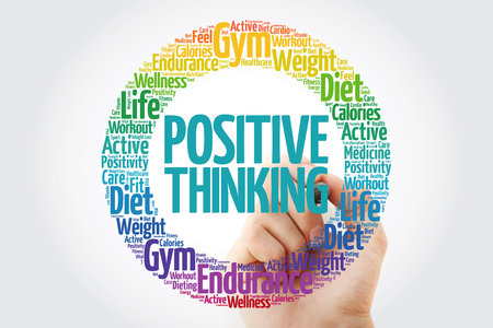 Positive thinking circle word cloud with marker, health concept