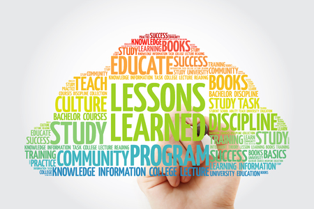Lessons Learned word cloud collage with marker, education concept background
