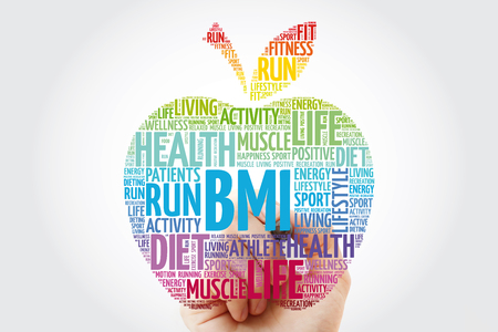 BMI - Body Mass Index, apple word cloud collage, health concept background 版權商用圖片