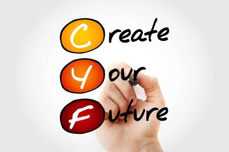 CYF - Crea tu futuro, fondo del concepto de acrónimo